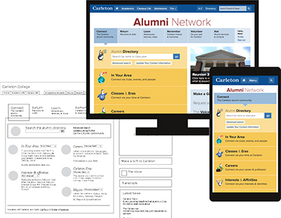 Wireframe, and mockups of the Carleton Alumni Network on desktop and mobile screens