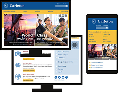 The Carleton College home page on desktop and mobile screens