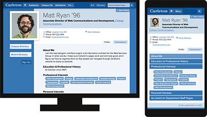 Mockups of a Carleton Profile page on desktop and mobile screens