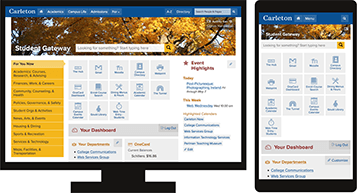 Mockups of the Carleton Student Gateway on desktop and mobile screens