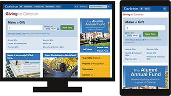 The Giving to Carleton home page on desktop and mobile screens